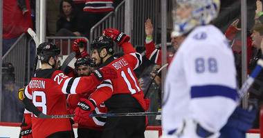 The New Jersey Devils celebrate a goal by Taylor Hall during the second period of Game 3 of their first-round playoff series against the Tampa Bay Lightning against the Tampa Bay Lightning on April 16, 2018, at the Prudential Center.