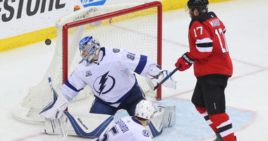 Lightning goalie Andrei Vasilevskiy makes a save during the third period of Game 4 of the first-round playoff series against the Devils on April 18, 2018, at the Prudential Center.