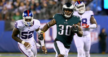 Eagles running back Corey Clement runs for a first down against the New York Giants on Oct. 11, 2018, at MetLife Stadium.