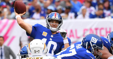 Giants quarterback Eli Manning passes against the Los Angeles Chargers on Oct. 8, 2017, at MetLife Stadium.
