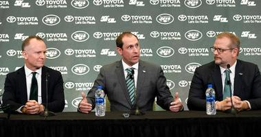 Jets CEO Christopher Johnson, coach Adam Gase and general manager Mike Maccagnan answer questions from the media during a news conference on Jan. 14, 2019, in Florham Park.