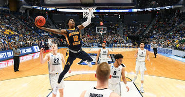 Murray State's Ja Morant dunks against Marquette during the first round of the NCAA Tournament on March 22, 2019, in Hartford, Connecticut.