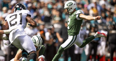 Jets punter Jason Myers kicks a field goal against the Jacksonville Jaguars on Sept. 30, 2018, at TIAA Bank Field.