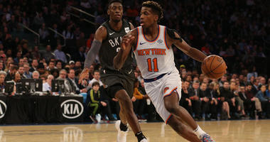 Knicks guard Frank Ntilikina drives against Brooklyn Nets guard Caris LeVert on Oct. 29, 2018, at Madison Square Garden.