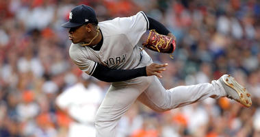 The Yankees' Luis Severino delivers a pitch against the Astros on May 2, 2018, at Minute Maid Park in Houston.
