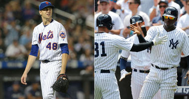 Mets pitcher Jacob deGrom (left) and the Yankees' Didi Gregorius and others (right)