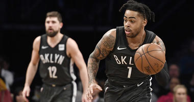 D'Angelo Russell of the Brooklyn Nets dribbles the ball during the third quarter of the game against the Sacramento Kings on Jan. 21, 2019, at Barclays Center.