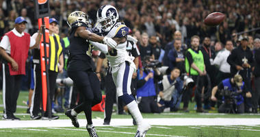 Rams defensive back Nickell Robey-Coleman breaks up a pass intended or Saints wide receiver Tommylee Lewis during the fourth quarter of the NFC championship game on Jan. 20, 2019, at Mercedes-Benz Superdome in New Orleans.
