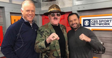 Sgt. Slaughter poses with Boomer and Gio on Feb. 14, 2019.