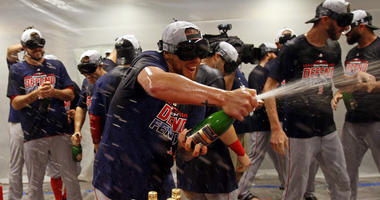 Red Sox players celebrate after clinching the American League East with a win over the Yankees on Sept. 20, 2018, at Yankee Stadium.