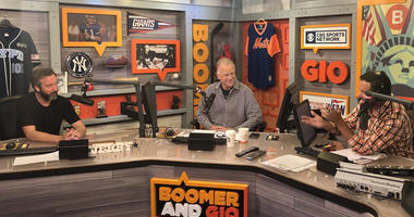 Comedian Tom Green, left, chats with Boomer and Gio on Sept. 20, 2018.