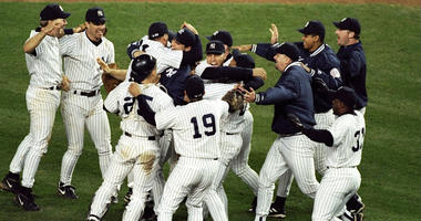 General view as members of the Yankees celebrate winning the pennant following the American League Championship Series game on Oct. 13, 2018, against the Cleveland Indians at Yankee Stadium.