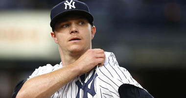Yankees pitcher Sonny Gray reacts on his way to the dugout after giving up a run in the third inning against the Oakland Athletics on May 11, 2018, at Yankee Stadium.