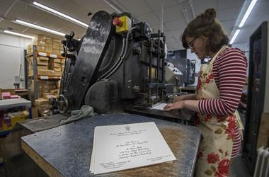 Royal wedding invitation printing press