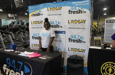 Jen Richer of The Tommy Show and the 94.7 Fresh FM Street team interacted with members of the new Gold's Gym in Chantilly Plaza.