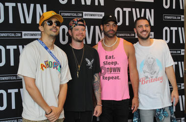 Britt Waters and 94.7 Fresh FM winners enjoy a Meet & Greet with O-Town prior to their perfomance at the Tysons Corner Center Summer Concert Series.