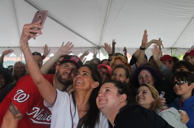 Jen Richer, Kelly Collis and the 94.7 Fresh FM Street Team hangs out with the ladies at Nats Park before the game.
