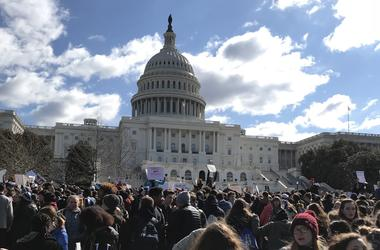 Students participate in national walkout day to protest gun violence at the Capitol building