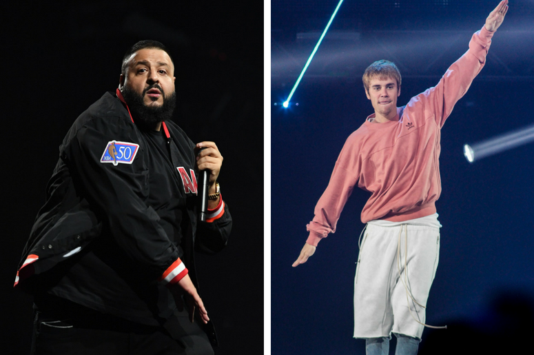March 30, 2018; Miami, FL, USA; DJ Khaled performs at American Airlines Arena. / SAN JOSE, CA - DEC 03: Recording artist Justin Bieber performs during Now! 99.7 Triple Ho Show 7.0 at the SAP Center on December 3, 2016 in San Jose, California.