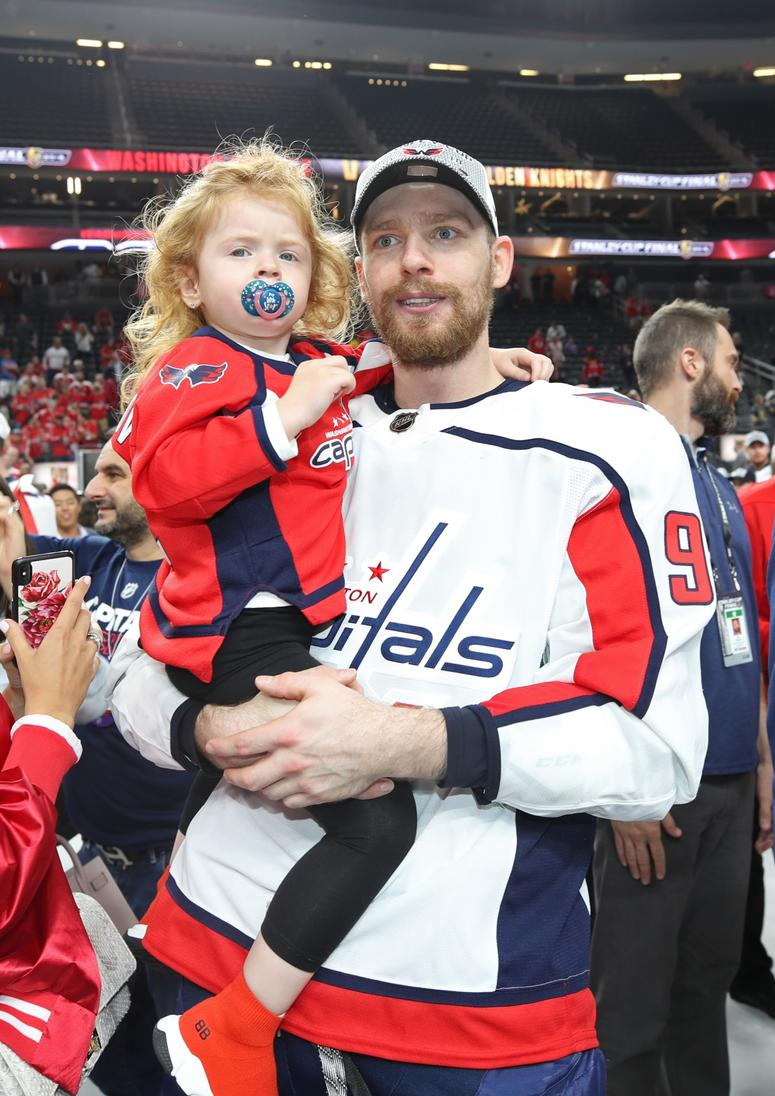 stanley cup Evgeny Kuznetsov #92 of the Washington Capitals celebrates with his daughter