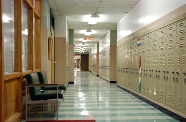 high school classroom hallway lockers