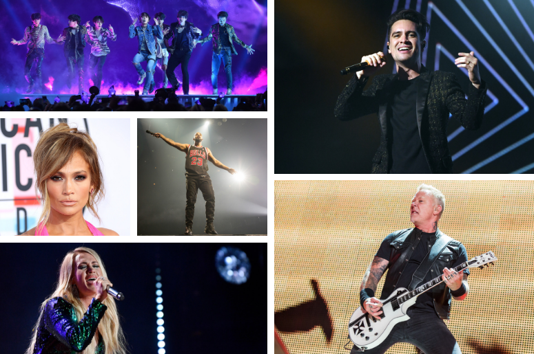 BTS, J Lo, Drake, Carrie Underwood, Panic! At The Disco, Metallica