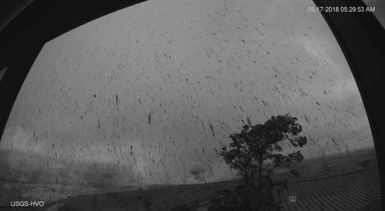 This Thursday, May 17, 2018 image provided by the U.S. Geological Survey shows a view of the ash plume resulting from an early morning explosion at Kilauea Volcano, in Hawaii.