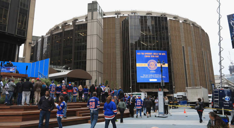 An exterior view of Madison Square Garden.