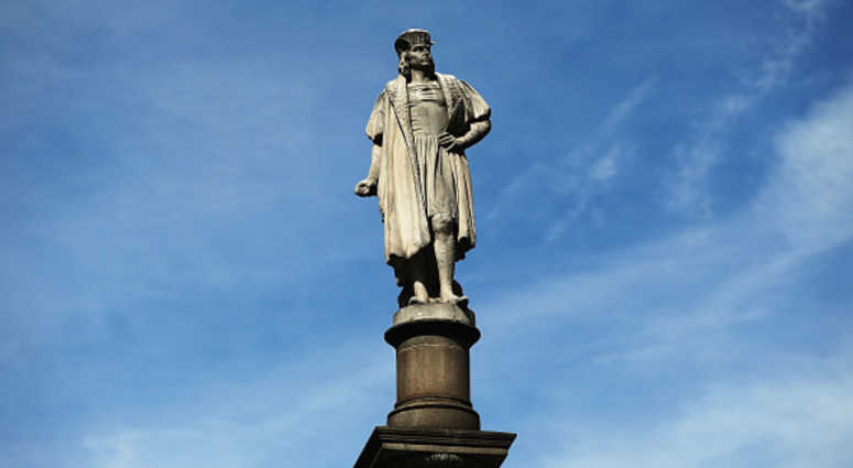 A 76-foot statue of explorer Christopher Columbus stands in Columbus circle