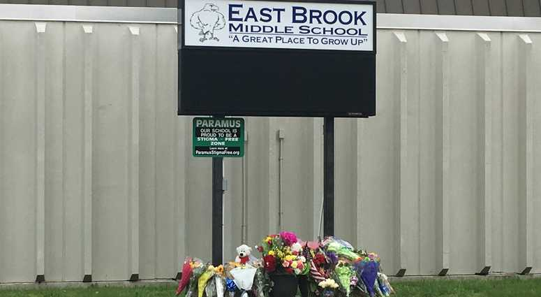 A memorial outside East Brook Middle School in Paramus.