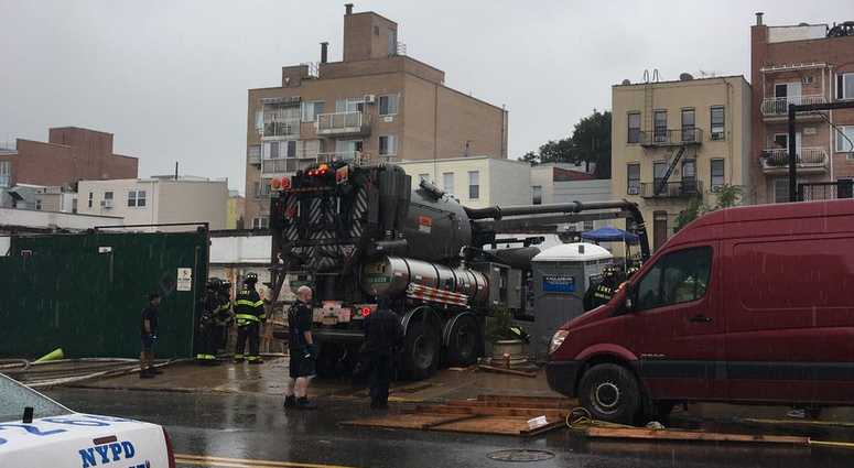 A construction accident on 39th Street between 7th and 8th Avenues in Sunset Park, Brooklyn.