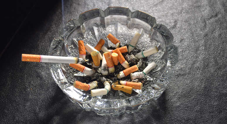 Cigarettes in an ash tray.