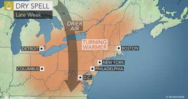 A late week dry spell is expected to give way to some wet weather over Memorial Day Weekend.