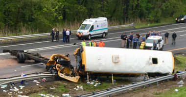 A bus involved in a deadly accident on Route 80 in Mount Olive.