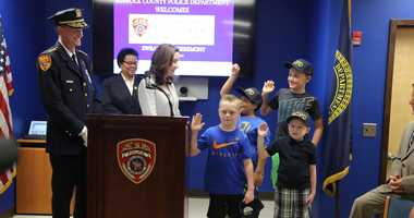 Three boys battling cancer were sworn in as police officers for the day in Suffolk County