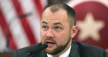 New York City Councilman Corey Johnson speaks at a hearing in introducing legislation making it easier for transgender people to change the sex on their birth certificates.