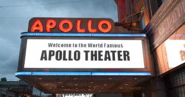 NEW YORK, NY - OCTOBER 30: An exterior view of the Apollo Theater following Hurricane Sandy on October 30, 2012 in New York City.
