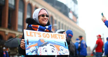 Fans are seen prior to the start of the Opening Day game between the New York Mets and the St. Louis Cardinals
