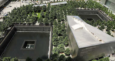 The reflecting pools at the National September 11 Memorial
