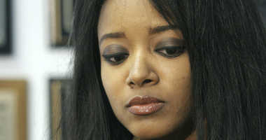 In this Sept. 22, 2006, file photo, former Playboy playmate Stephanie Adams speaks at an interview in New York about her lawsuit against the New York City Police Department.