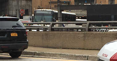 Two NJ TRANSIT buses collided outside of the Lincoln Tunnel on Friday morning.