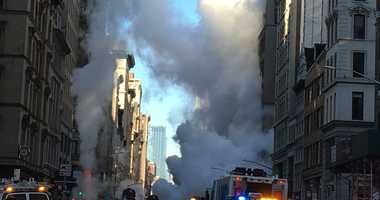 The scene following a steam pipe explosion in the Flatiron district.