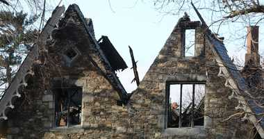 Damage to the Wildcliff mansion in New Rochelle is seen the day after after a fire tore through the historic building on Nov. 26, 2018. Wildcliff mansion fire damage
