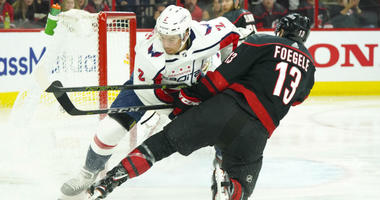 Hurricanes forward Warren Foegele scored after 17 seconds in Game 4.