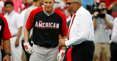 American League All-Star Manny Machado #13 of the Baltimore Orioles speaks with Frank Robinson prior to the 86th MLB All-Star Game at the Great American Ball Park on July 14, 2015 in Cincinnati, Ohio.