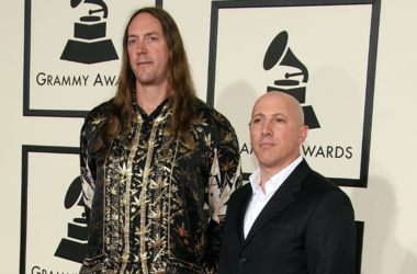 sicians Maynard James Keenan (R) and Danny Carey from the group Tool arrive at the 50th annual Grammy awards held at the Staples Center on February 10, 2008 in Los Angeles, California
