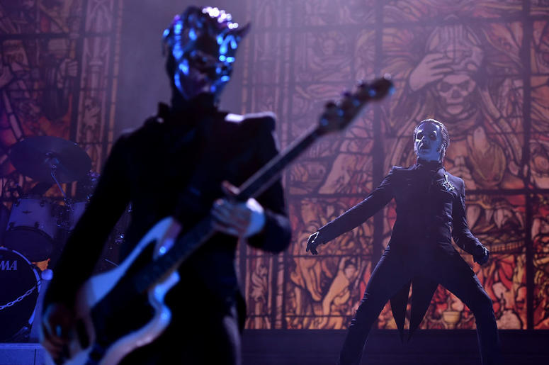 Tobias Forge performing as Cardinal Copia of the band Ghost at Barclays Center on December 15, 2018 in New York City