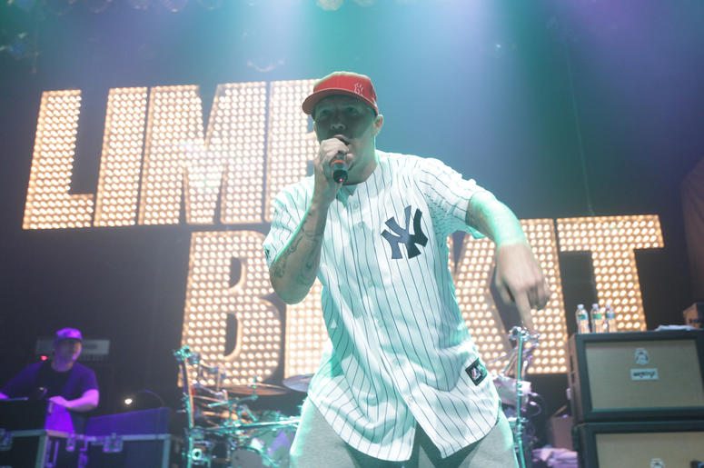 Fred Durst of Limp Bizkit performs on stage at Gramercy Theatre on May 5, 2010 in New York City