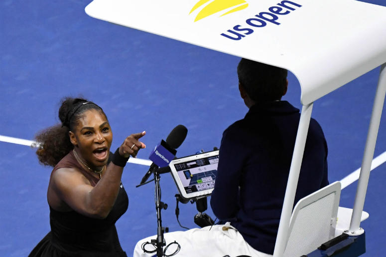 Sep 8, 2018; New York, NY, USA; Serena Williams of the United States yells at chair umpire Carlos Ramos in the women's final against Naomi Osaka of Japan on day thirteen of the 2018 U.S. Open tennis tournament at USTA Billie Jean King National Tennis Cent