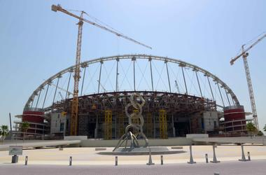 May 7, 2016; Doha, Qatar; General view of construction at Khalifa International Stadium in preparation for the 2022 FIFA World Cup.